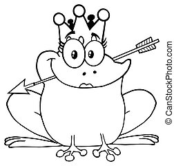 Black And White Princess Frog Cartoon Mascot Character With Crown And Arrow