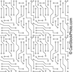 Black and White Printed Circuit Board Seamless Background with Pattern in Swatches