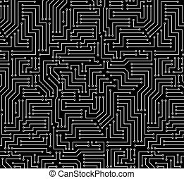 Black and White Printed Circuit Board Seamless Background...