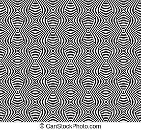 Black and White Psychedelic Circular Textile Pattern. Vector...