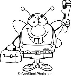 Black And White Pudgy Bee Plumber