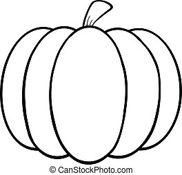 Black and White Pumpkin Cartoon Illustration