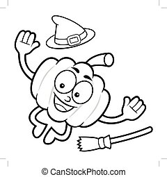 Black And White Pumpkin Mascot jumps. Halloween Day Isolated Pumpkin Vector Illustration.
