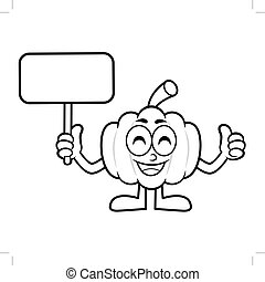 Black And White Pumpkin Mascot Picket and Thumb Up Gesture. Halloween Day Isolated Pumpkin Vector Illustration.