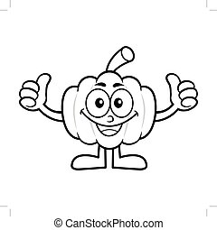Black And White Pumpkin Mascot Thumb Up Gesture. Halloween Day Isolated Pumpkin Vector Illustration.