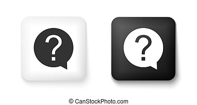 Black and white Question mark in circle icon isolated on white background. Hazard warning symbol. Help symbol. FAQ sign. Square button. Vector