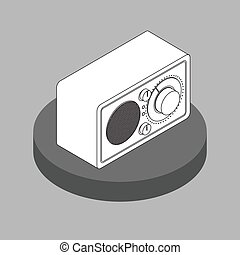 Vector black and white radio reciever icon. Isometric projection object