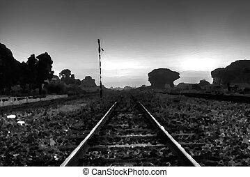 Black and white railway painting.