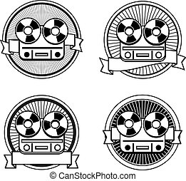 Black and white reel tape recorder stamp icons