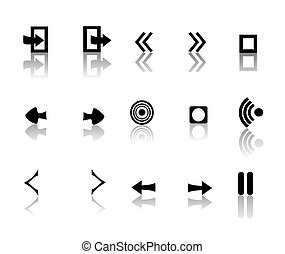 black and white reflective icons