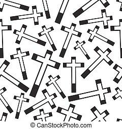 black and white religion cross seamless pattern eps10