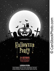 Black and white Retro background for Halloween party. Cartoon pumpkin in the cemetery. Full moon and realistic starry sky. Template for your project. Text with your name
