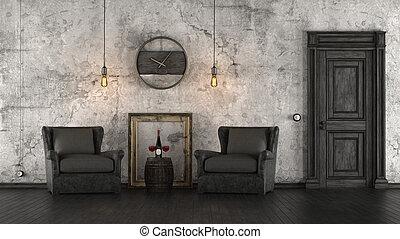 Black and white retro interior