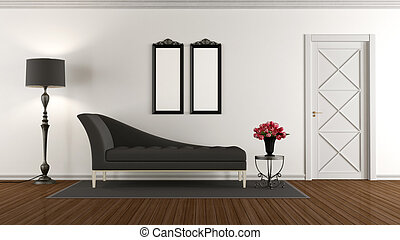 Black and white retro living room