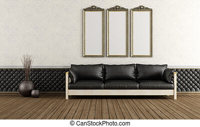 Black and white retro room