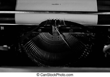 black and white retro typewriter letter - detailed largest ...