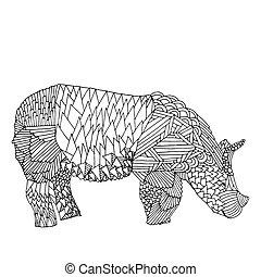 Black and white rhino illustration - Rhino - Stylized...