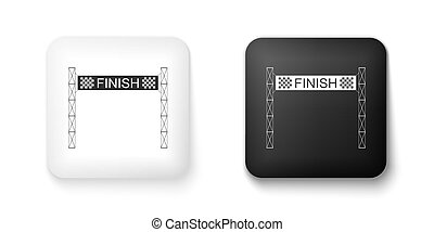 Black and white Ribbon in finishing line icon isolated on white background. Symbol of finish line. Sport symbol or business concept. Square button. Vector