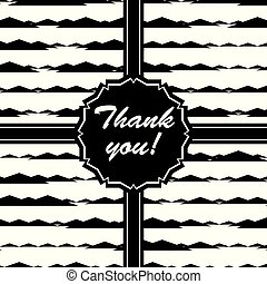 Black and White Ribbon with Text from Repetitive Abstract Geometric Shapes Pattern eps10 Vector