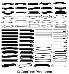 Black and white ribbons banners set vector.