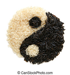 Black and white rice forming a yin yang symbol