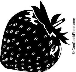 Black-and-white ripe strawberry isolated on white background