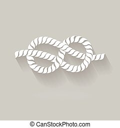 Black and White Rope Eight Knot Graphic Design flat Style