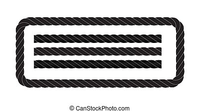 Black and white rope isolated on white. Seamless compilation. Vector Illustration EPS10