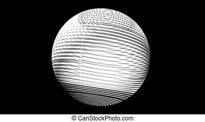 Black and white rorating slices sphere