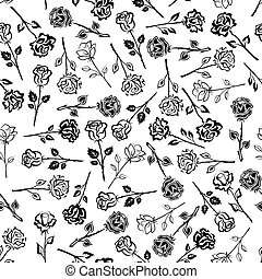 Black and white roses floral seamless pattern
