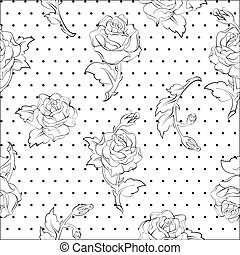 roses on dots seamless pattern