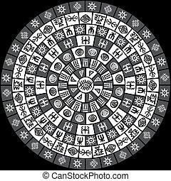 Black and white round design with ethnic symbols