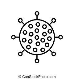 Black and white round icon of harmful chinese new virus ...