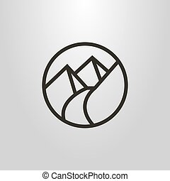 round simple vector line art symbol of the footpath in the mountains