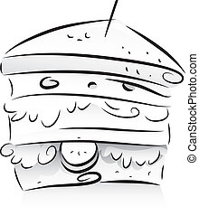 Black and White Sandwich - Black and White Illustration of a...