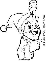 Santa pointing Christmas illustrati