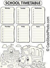 Black and white school timetable topic 3 - eps10 vector...