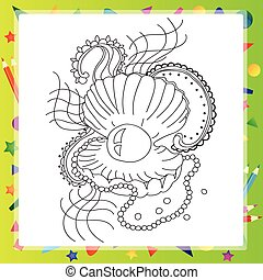 Black and white sea shell for coloring book