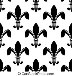 Black and white seamles fleur de lys pattern
