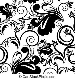 black and white seamless background - black and white floral...