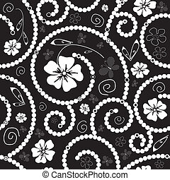 Black and white seamless floral pat