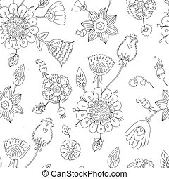 black and white seamless floral pattern, Page coloring for adults