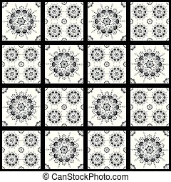 Black and white seamless pattern for ceramic, porcelain, chinaware design