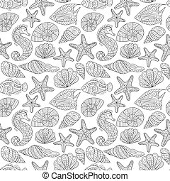 Black and white seamless pattern for coloring book. Sea life