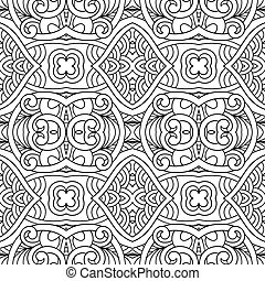 Black and white seamless pattern, hand drawing background, ...