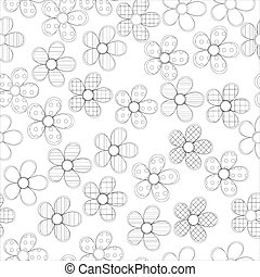 Black and white seamless pattern in flowers with contours