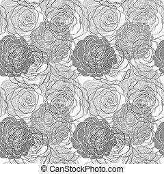 black and white seamless pattern in roses with contours