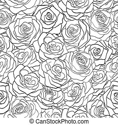 black and white seamless pattern in roses with contours?