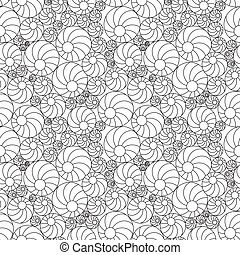 Black and white seamless pattern with balls