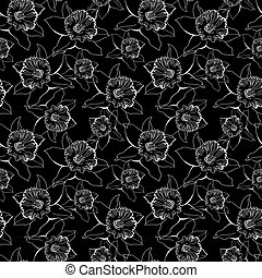 Black and white seamless pattern with contour of flowers.